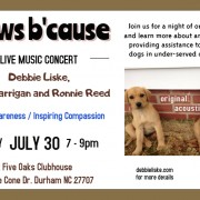 paws b'cause concert to benefit the Coalition to Unchain Dogs